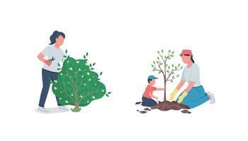 werken in tuin egale kleur vector anonieme tekenset