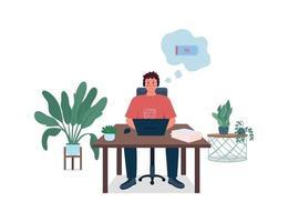 kantoormedewerker met lage energie egale kleur vector gedetailleerd karakter