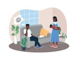 postnatale depressie 2d vector webbanner, poster