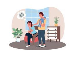postpartum depressie 2d vector webbanner, poster