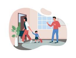 ouders scheiden 2d vector webbanner, poster