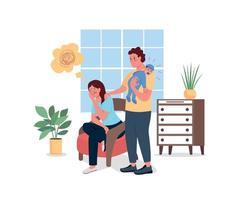 depressieve moeder met echtgenoot en baby egale kleur vector gedetailleerde karakters