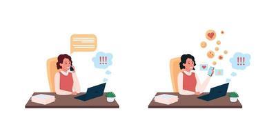 uitstellende secretaresse op het werk egale kleur vector gedetailleerde tekenset