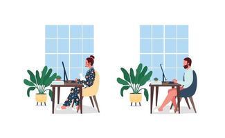 freelancers aan bureau egale kleur vector tekenset