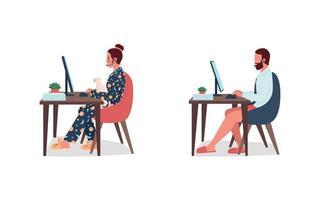 freelancers in ondergoed op het werk egale kleur vector tekenset