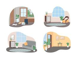 in gezinswoning 2d vector webbanner, poster set