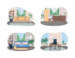 huisruimte 2d vector webbanner, poster set