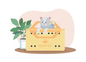 adoptie van grijze kat 2d vector webbanner, poster