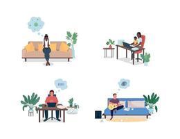 beklemtoonde mannen en vrouwen thuis egale kleur vector gezichtsloze en gedetailleerde tekenset