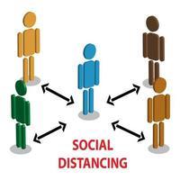 isometrische sociale afstand nemen