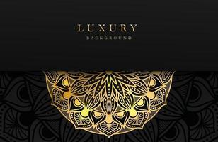 luxe achtergrond met glinsterende gouden islamitische arabesk ornament op donkere ondergrond vector