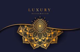 luxe achtergrond met gouden islamitische arabesque mandala ornament op donkere ondergrond vector