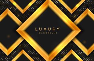 luxe elegante achtergrond met gouden vorm en lijnsamenstelling op stippen halftoonpatroon. elegante zwarte en gouden omslagsjabloon vector