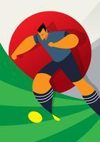 Japan Wereldbeker Voetbalspelers Dribbelende bal vector