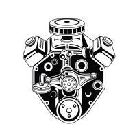 zwart-wit afbeelding van motor van een auto vector