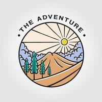 het avonturenbadge met illustratie van bergen, bomen, wolken en zon vector