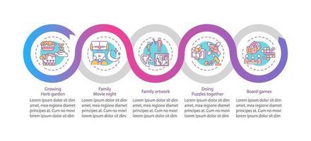 indoor gezinsactiviteiten vector infographic sjabloon