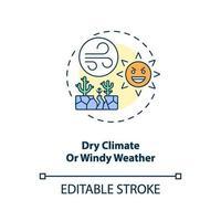 droog klimaat of winderig weer concept pictogram vector