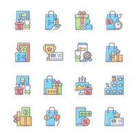 loyaliteitsprogramma RGB-kleur iconen set vector
