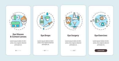 oogziekten behandelingsmethoden onboarding mobiele app-paginascherm met concepten