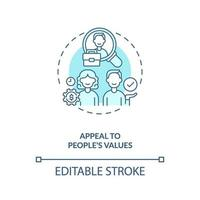 beroep doen op waarden van mensen concept pictogram vector