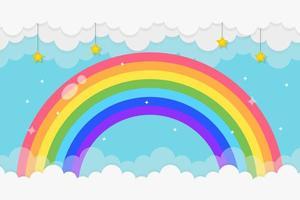 regenboogachtergrond met wolken en sterren