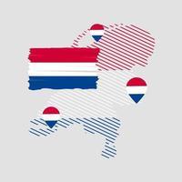 vlag van nederland met locatie op de kaart vector