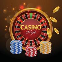 casino luxe wenskaart met gokautomaat en casinofiches vector