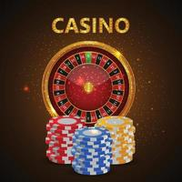online casinospel met casinoslot met kleurrijke fiches vector