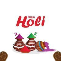 creatieve gelukkige holi-viering achtergrond met kleurrijke gulal vector