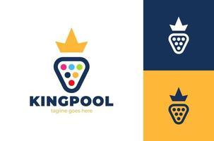poolroom kleurrijk logolabel met ballen en gele kroon vector