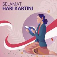 kartini-dag met een vrouw die een boek leest vector
