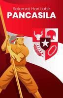 pancasila-dag met mannen die vlaggen dragen