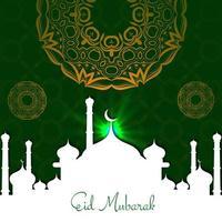 eid mubarak-kaart met het festivalachtergrond van het moskeepatroon vector