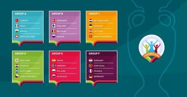 Europees voetbal 2020 toernooi laatste fase groepen vector stock illustratie. Europees voetbaltoernooi 2020 met achtergrond. vector land vlaggen