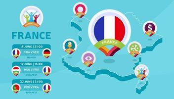 Frankrijk isometrische kaart voetbal 2020 vector