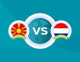 noord-macedonië vs nederlands voetbal vector