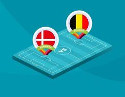 Denemarken vs belgisch voetbal vector