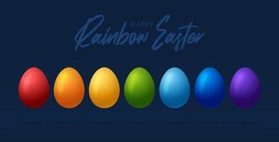 Pasen-wenskaart met eieren van regenboogkleuren. gelukkige pasen vector wenskaart, kleurrijke eieren in rij geïsoleerd op blauwe achtergrond