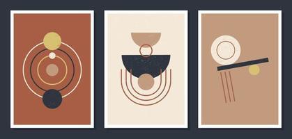 minimalistische geometrische vectorkunstmuuraffiches. set van minimale 20s geometrische abstracte hedendaagse posters vector sjabloon boho primitieve vormen elementen ideaal voor wanddecoratie moderne hipster stijl