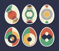 set van minimalistische geometrische paasei met geometrische vormelementen. moderne eigentijdse creatieve trendy abstracte sjablonen vectorillustratie. vector