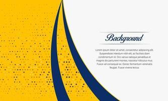 stijlvolle gele en blauwe gebogen achtergrond met halftoon vector