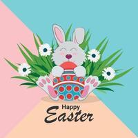 gelukkig Pasen plat ontwerpconcept vector