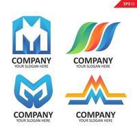 verzameling kleurrijke eerste m brief logo ontwerpsjabloon vector