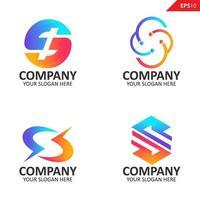 collectie kleurrijke eerste s brief logo ontwerpsjabloon vector