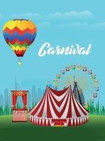 carnaval feestviering poster met creatief masker vector