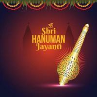 creatieve illustratie van hanuman jayanti, viert achtergrond met heer hanuman wapen vector