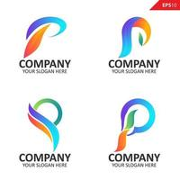 verzameling kleurrijke eerste p brief logo ontwerpsjabloon vector