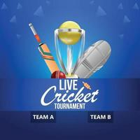 cricket kampioenschapswedstrijd met stadionachtergrond vector