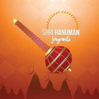 Hanuman Jayanti-wenskaart met Lord Hanuman-wapen en achtergrond vector